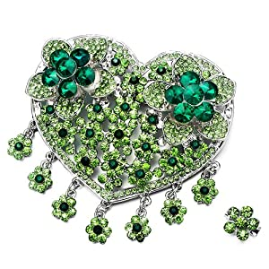 Pugster Luxury Vintage August Birthstone Green Crystal Heart Flower Set Brooches And Pins