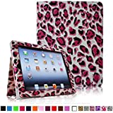 Fintie Folio Case for iPad 4th Generation with Retina Display, the New iPad 3 & iPad 2 Slim Fit Stand Smart Cover with Auto Sleep / Wake Feature - Leopard Pink