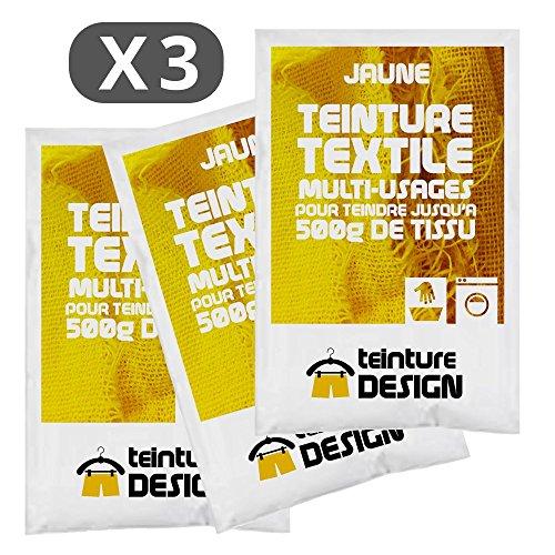 lot de 3 sachets de teinture textile jaune teintures universelles pour v tements et tissus. Black Bedroom Furniture Sets. Home Design Ideas