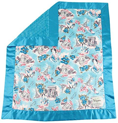 """My Blankee Paris Minky w/ Minky Dot Turquoise Baby Blanket, 30"""" x 35"""""""