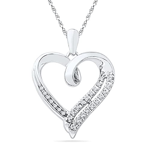 Sterling-Silver-White-Round-Diamond-Heart-Pendant-1-10-Cttw-