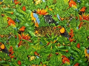 Islands Fabric Tropical Wildlife a Fleece Fabric and Sold By the Yard