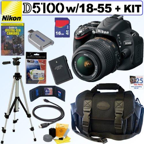 Nikon D5100 16.2Mp Cmos Digital Slr Camera With 18-55Mm F/3.5-5.6 Af-S Dx Vr Nikkor Zoom Lens + En-El14 Battery + 16Gb Deluxe Accessory Kit