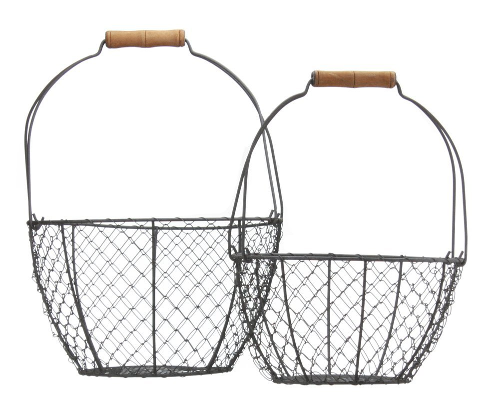 Set of Two Vintage Style Round Wire Baskets 0