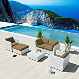 Tremendous New Uduka Monet 6 Pcs Outdoor Taupe Sectional Patio Alphanode Cool Chair Designs And Ideas Alphanodeonline