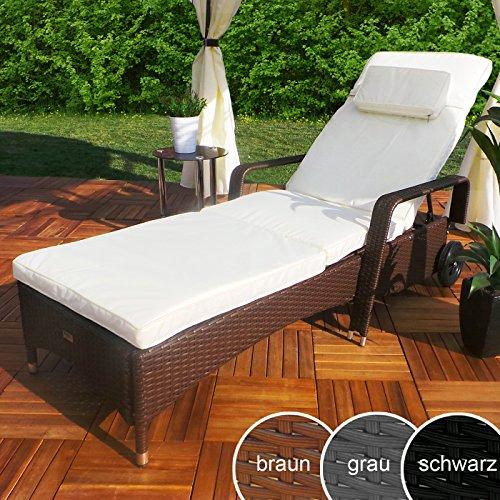 Rattan-Garten-Liege-Relax-Polyrattan-Gartenliege-Rattanmbel-Liegestuhl-Sonnenliege-Braun