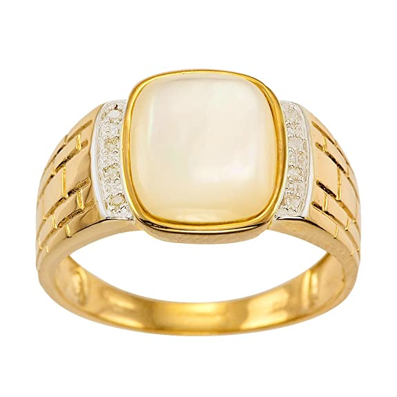 Kareco 9ct Yellow Gold Gents Diamond And Pearl Ring