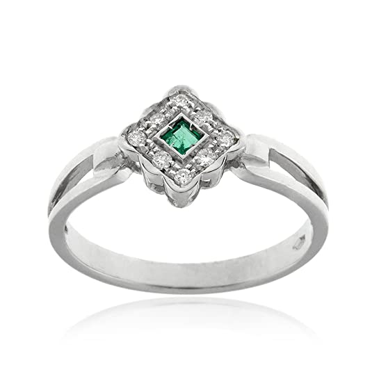 Gioiello Italiano - 18kt white gold ring with 0.012ct diamonds and 0.05ct emerald