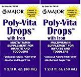 Poly Vitamin Liquid with Iron Sugar & Alcohol Free Natural Fruit Flavor Generic for Enfamil Poly-Vi-Sol Multivitamin Supplement Drops for Infants and Toddlers Measuring Syringe Included 50 ml per Bottle Pack of 2