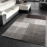 Designer Teppich Modern Kariert Kurzflor Design Meliert In Grau Creme