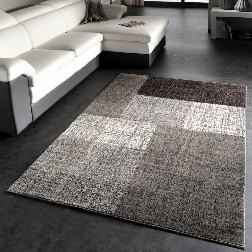 tapis-moderne-a-carreaux-poils-courts-mouchete-gris-creme-brun-dimension60x110-cm