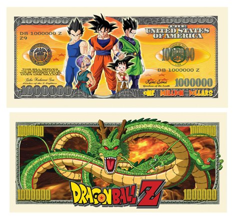 Set of 10 - Dragon Ball Z Million Dollar Bill