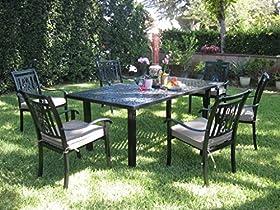 Reviews Cbm Outdoor Cast Aluminum Patio Furniture 7 Piece Dining Set A Cheap Fdhgjkf