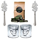 ALANDIA Scary Skull Design Absinthe Set: 2x Absinthe Glasses and 2 Absinthe Spoon Set 2x Skull Glass - Ornate Absinthe Spoon - 1 Sugar - The set is a real eye-catcher and as well perfect as gift!