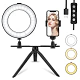 6'' LED Ring Light with Tripod Stand for Makeup/YouTube Video, Tenswall Mini Desktop LED Camra Light with Phone Holder Selfie Ring Light for Live Stream/Photography with 3 Light Modes & 11 Brightness (Tamaño: 1-6 inches)