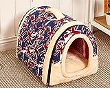 ペットハウス 犬 猫 ドーム型 ふわふわ ベッド 折りたたみ式 中敷き付き (L 60x45x45cm, ユニオンジャック)