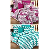 Story@Home 100% Premium Cotton Set Of 2 Candy Colletions Printed Designer Double Bedsheets With 4 Pillow Covers...