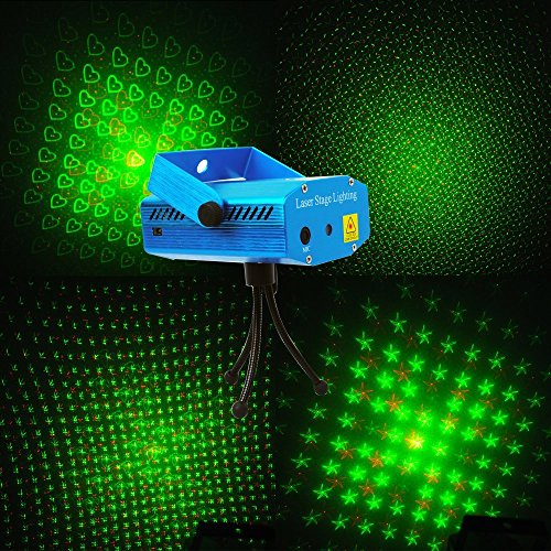 E-Thinker Mini Sound-Active Red & Green Stage Lighting Light Projector Mxs-002 For Party, Clubs, And Disco