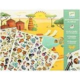 Manualidad infantil Djeco 90 calcomanías Animales. Decorados (sabana, desieto, antártida) 4 a 8 años