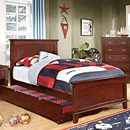 Colin Transitional Style Cherry Finish Twin Size Bed Frame Set