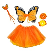 Girls Monarch Butterfly Fairy Costume. Yellow and Orange 4 Piece Set with Wings Butterfly Wand Reversable Ballet Tutu 2 Flower Clips & Headbands.