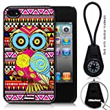 Oksobuy® -The New Apple Iphone 4/4s Aztec Style and Maya Style Background with Colorful Cute Fashion Owl Case Cover Skin Protection for the Iphone 4/4s (Black)-0317