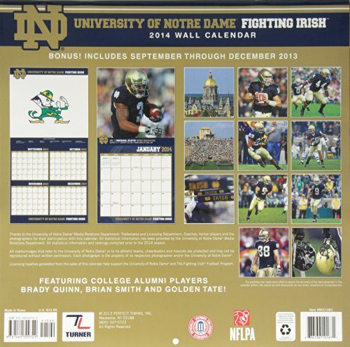 University of Notre Dame Fighting Irish 2014 Calendar