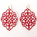 Red Filigree Earring