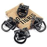 OneTigris 4pcs Tactical 360 Rotation D-ring Clips MOLLE Webbing Attachment Backpacks EDC (Black) (Color: Black)