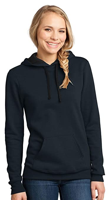 District Women's Black Drawstring Concert Fleece Hoodie_New Navy_Medium