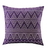 Createforlife Cotton Linen Square Decorative Throw Pillow Case Cushion Cover Purple Ethnic Patterns 18""