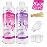Epoxy-Resin-Crystal-Clear-Coasting  for  Wood Tabletops, Bar Tops,Jewelry, Crafts- 16 Ounce Kit | Bonus Tools 4 pcs Graduated Cups, 3pcs Sticks, 1 Pair Rubber Gloves