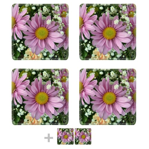 Pink Daisies With Baby'S Breath Flowers Colorful Nature Beauty Square Coaster (6 Piece) Set Fabric Rubber 5 1/8 Inch (130Mm) Size Coaster Cup Mug Can Water Bottle Drink Coasters Stain Resistance Collector Kit Kitchen Table Top Desk front-741180