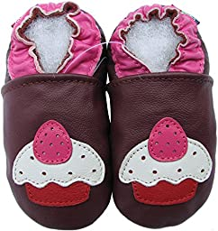 Carozoo baby girl soft sole leather infant toddler kids shoes Cupcake Purple 5-6y