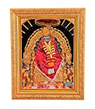 Bm Traders Golden Zari Work Photo of Sai Baba With Gloden Frame