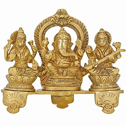 Handmade Indian Brass Ganesha, Lakshmi & Saraswati Statue - Hindu Religious Items for Home Puja or Temple - 6 X 6 X 2 Inch - 1.2 Kg