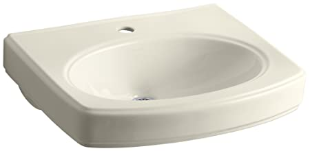 KOHLER K-2028-1-47 Pinoir Bathroom Sink Basin with Single-Hole Faucet Drilling, Almond