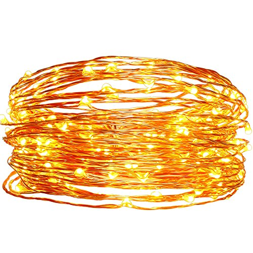 Solar Christmas String Lights,easyDecor Copper Wire 100 LED 33ft Warm White Waterproof Decorative Starry Fairy Rope Light for Thanksgiving,Outdoor,Indoor,Party,Patio,Garden,Holiday,Wedding,Xmas Tree (Small Led Light Waterproof compare prices)