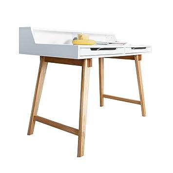 Schreibtisch Sekretär TIFFY ORIGINAL MCA 110cm weiß Beine Echt Eiche