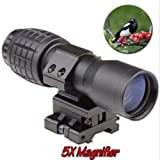 Zinnor 5X Magnifier Scopes FTS 30mm Flip-to-Side Rail 7/8 Mount for Bird Watching Eotech Aimopint or Similar Scopes B for Observing,Sightseeing Outdoor Travel Magnifier