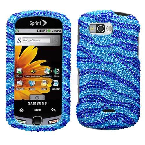 Samsung M900 Snap On Cover Zebra Skin Baby Blue/Dark Blue Full Diamond front-1037708