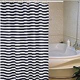 シンプル しま模様 防水 防カビ 加工 シャワーカーテン ユニットバス バスルーム シャワー カーテン お風呂グッズ 間仕切り取付簡単  180*180cm 12 カーテンリング付属 (藍色)