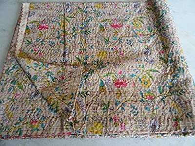Tribal Asian Textiles Multicolor Paisley PARADISE Print King Size Kantha Quilt , Kantha Blanket, Bed Cover, King Kantha bedspread, Bohemian Bedding Kantha Size 90 Inch x 108 Inch 19