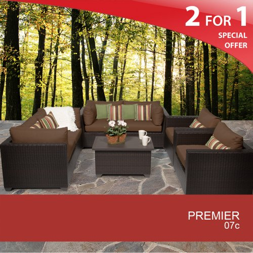 Premier 7 Piece Outdoor Wicker Patio Furniture Set - Cocoa 07C 2 Yr Fade Warranty