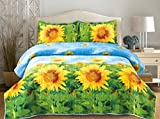 3d Flower Print 3 Piece Set Sun Flower Qulited Bedspread Queen 92 By 90-inch (012)