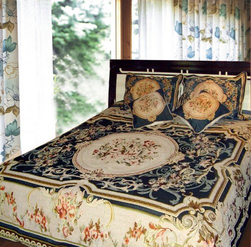 Dada Bedding 33-1Jpg 3-Piece Elegant Chenille Woven Floral Bedspread, Twin, Dark Blue back-924256