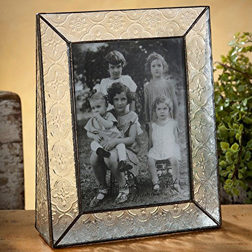 J Devlin Pic 126-57V Stained Glass Picture Frame Clear Vintage Textured Glass 5x7 Vertical Portrait Photo 0