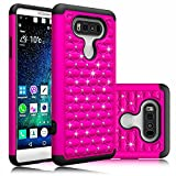 LG V20 Case,Berry Accessory(TM) Studded Rhinestone Crystal Bling Hybrid [ Dual Layer ] Armor Case Cover for LG V20 With Free Berry logo stand holder (Rose/Black)