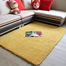 Super Soft Sitting Room Carpet Shag Area Rug Modern Carpet Non-Slip Floor Rug Dark Red Carpet Girls Room Carpet Yellow (4\'0x5\'3, yellow)