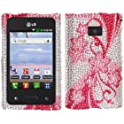 Fincibo (TM) LG Optimus Logic L35g Dynamic L38c Bling Crystal Full Rhinestones Diamond Case Protector - Cherry Flower